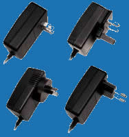 WALL-MOUNTED SWITCHING E-SERIES Adaptors with fixed AC Plugs for Electronic Toys and Games (up to 18W)
